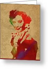 Barbara Stanwyck Watercolor Portrait Greeting Card