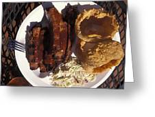 Barbeque Ribs Dinner At Sonny Bryans Greeting Card