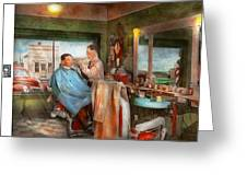 Barber - Getting A Trim 1942 - Side By Side Greeting Card