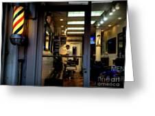 Barber Shop At Closing Time Greeting Card