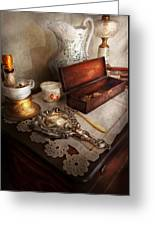 Barber - The Morning Ritual Greeting Card by Mike Savad