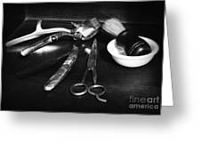 Barber - Things In A Barber Shop - Black And White Greeting Card