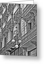 Barcelona Balconies In Black And White  Greeting Card