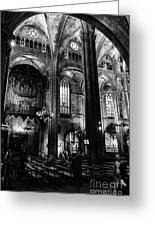 Barcelona Cathedral Interior Bw Greeting Card