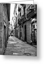 Barcelona Small Streets Bw Greeting Card