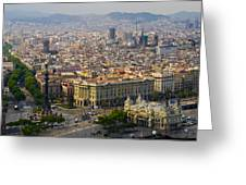 Barcelona With Tree-lined Las Ramblas Greeting Card by Annie Griffiths