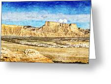 Bardenas Desert Panorama 3 - Vintage Version Greeting Card