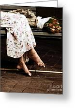 Barefoot And Tulips Greeting Card