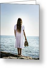 Barefoot At The Sea Greeting Card