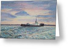 Barge On Port Phillip Bay Greeting Card