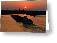 Barge On The Ohio. Greeting Card