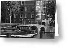Barges By The Bridge Greeting Card