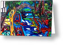 Barges On The Riverwalk Greeting Card
