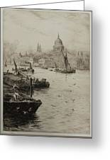 Barges On The South Bank Greeting Card