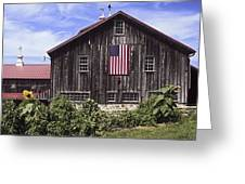 Barn And American Flag Greeting Card