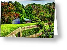 Barn And Fence In Tall Grass Greeting Card