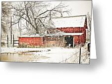 Barn And Pond Greeting Card