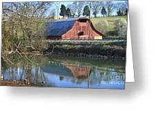 Barn And Reflections Greeting Card