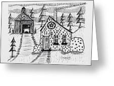 Barn And Sheep Greeting Card