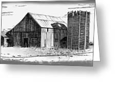 Barn And Silo Distressed Version Greeting Card