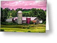 Barn And Silo With Infrared Touch Of Pink Effect Greeting Card