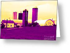Barn And Silos Amertrine Effect Greeting Card