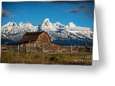 Barn And Snow Capped Tetons Greeting Card