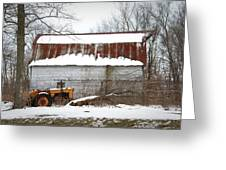 Barn And Tractor Greeting Card