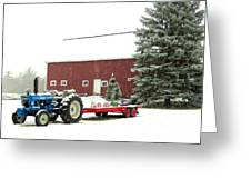 Barn And Tractor Holiday Scene Greeting Card