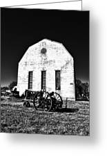 Barn And Tractor In Black And White Greeting Card