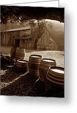 Barn And Wine Barrels 2 Greeting Card by Kathy Yates