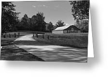 Barn At Yonah Mountain In Black And White 1 Greeting Card