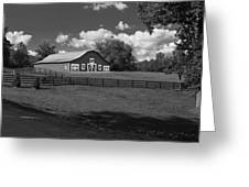 Barn At Yonah Mountain In Black And White 4 Greeting Card