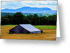 Barn Below Trees And Mountains Greeting Card