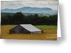 Barn Below Trees And Mountains In Artistic Version Greeting Card