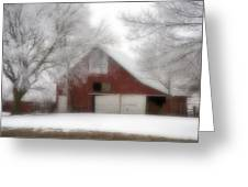 Barn Fog And Hoarfrost Greeting Card