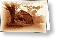 Barn Hocking Co Ohio Sepia Greeting Card