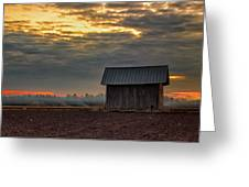 Barn House On The Burning Field Greeting Card