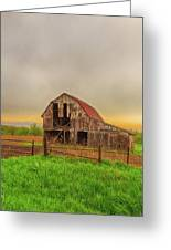 Barn In The Cloudy Sky Greeting Card