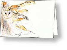 Barn Owl And Tree Greeting Card