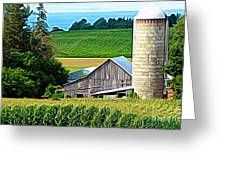 Barn Silo And Crops In Nys Expressionistic Effect Greeting Card