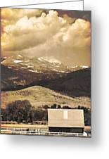 Barn With A Rocky Mountain View In Sepia Greeting Card