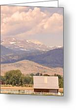 Barn With A Rocky Mountain View  Greeting Card