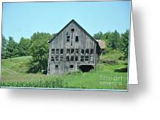 Barn With Chickens In Window Greeting Card