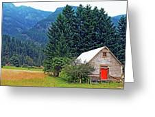 Barn With Red Door Greeting Card