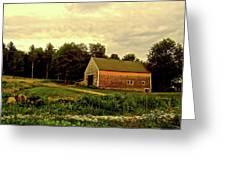 Barn With Wildflowers Greeting Card