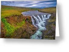 Barnafossar Waterfalls Greeting Card