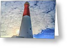 Barnegat Lighthouse In The Clouds Greeting Card