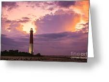 Barnegat Lighthouse Stormy Sunset Greeting Card