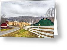Barns And Mountains Greeting Card